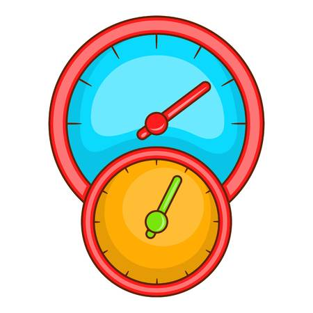 Little double speedometer icon. Cartoon illustration of speedometer vector icon for web design