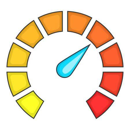 Large speedometer icon. Cartoon illustration of speedometer vector icon for web design