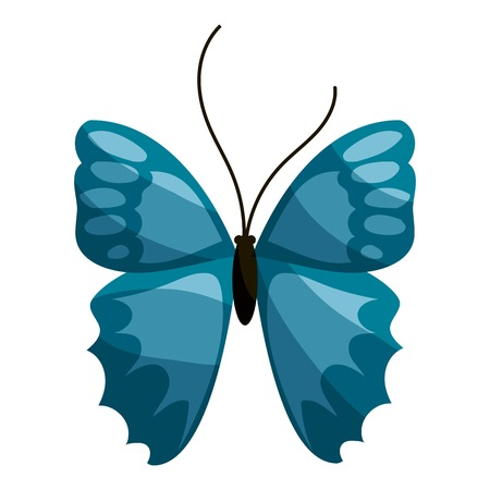 Blue butterfly icon. Cartoon illustration of blue butterfly vector icon for web Illustration