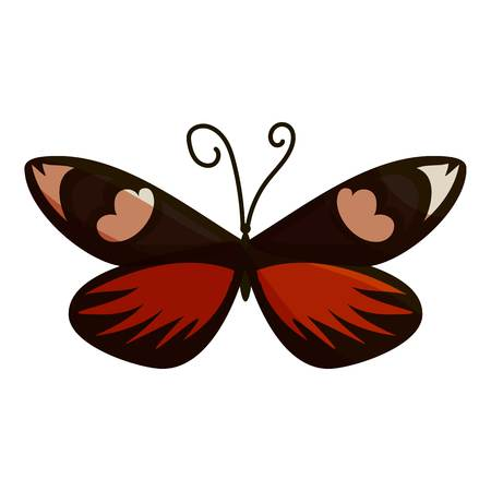 mormon: Dark butterfly icon. Cartoon illustration of dark butterfly vector icon for web