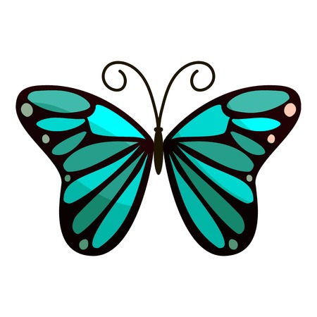 mormon: Bright butterfly icon. Cartoon illustration of bright butterfly vector icon for web