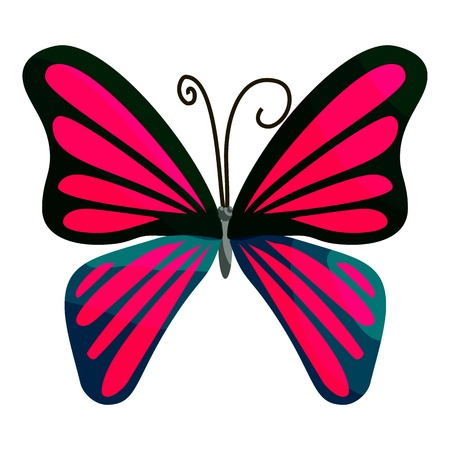 mormon: Pink butterfly icon. Cartoon illustration of pink butterfly vector icon for web