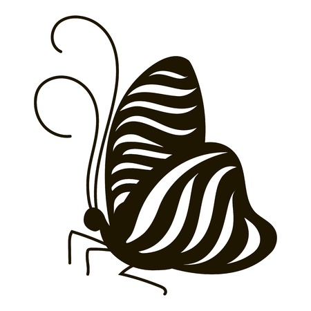 mormon: Stripped butterfly icon. Simple illustration of stripped butterfly vector icon for web