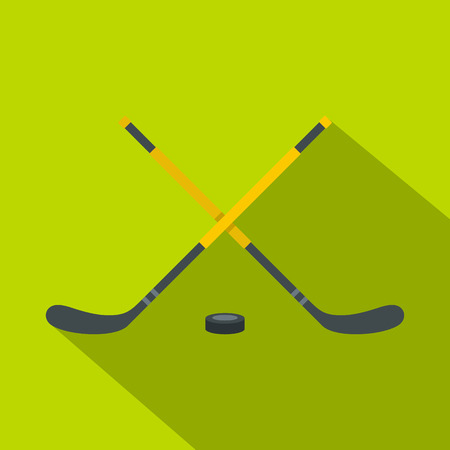 Sticks and puck icon. Flat illustration of sticks and puck vector icon for web design