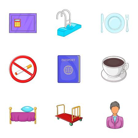 no swimming sign: Staying in hotel icons set. Cartoon illustration of 9 staying in hotel vector icons for web Illustration
