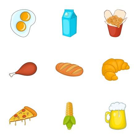 unhealthy: Unhealthy food icons set. Cartoon illustration of 9 unhealthy food vector icons for web
