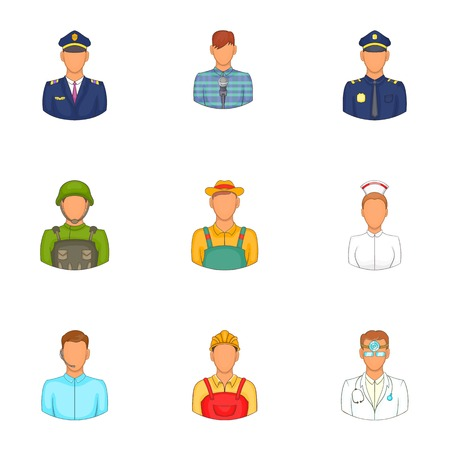 specialty: Specialty icons set. Cartoon illustration of 9 specialty vector icons for web