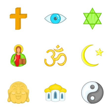 om: Religion icons set. Cartoon illustration of 9 religion vector icons for web