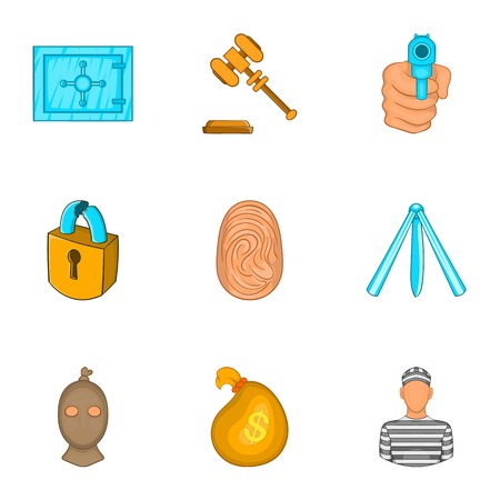 theft proof: Robbery icons set. Cartoon illustration of 9 robbery vector icons for web