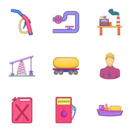 refills: Petroleum icons set. Cartoon illustration of 9 petroleum vector icons for web
