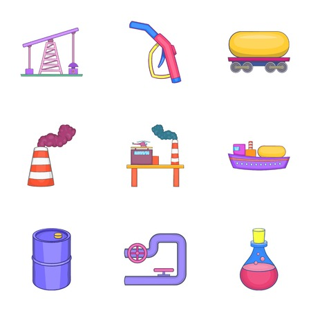 refills: Oil icons set. Cartoon illustration of 9 oil vector icons for web