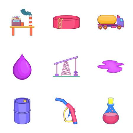 Fuel icons set. Cartoon illustration of 9 fuel vector icons for web Illustration