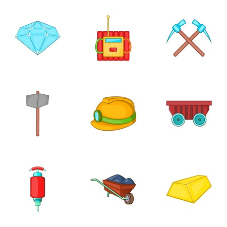 Mining activities icons set. Cartoon illustration of 9 mining activities vector icons for web Illustration