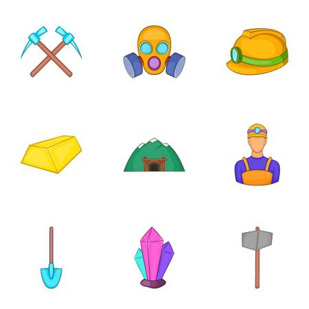 Colliery icons set. Cartoon illustration of 9 colliery vector icons for web