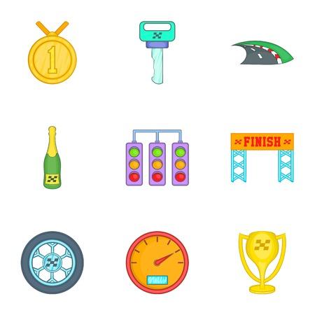 awarding: Race and awarding icons set. Cartoon illustration of 9 race and awarding vector icons for web