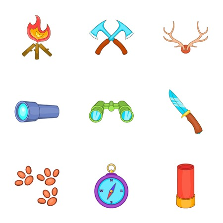 Forest icons set. Cartoon illustration of 9 forest vector icons for web