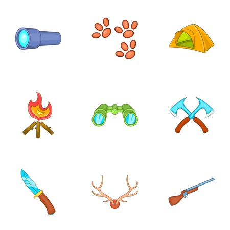 aim: Vacation in forest icons set. Cartoon illustration of 9 vacation in forest vector icons for web