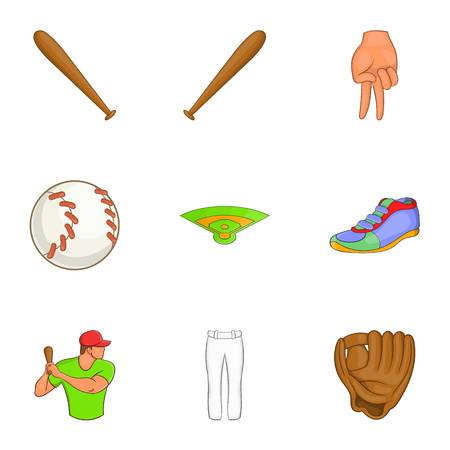 Game with bat icons set. Cartoon illustration of 9 game with bat vector icons for web