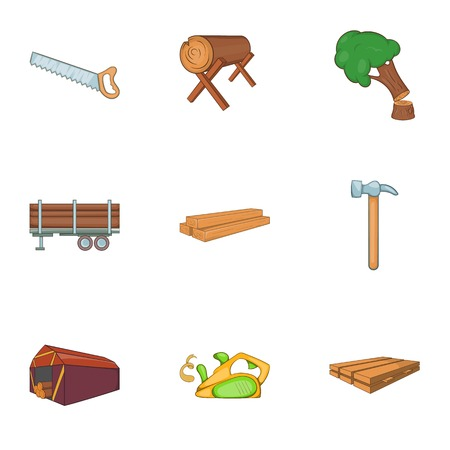 Firewood icons set. Cartoon illustration of 9 firewood vector icons for web