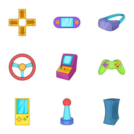 shifting: Video games icons set. Cartoon illustration of 9 video games vector icons for web Illustration