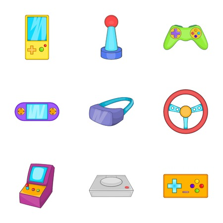psp: Play console icons set. Cartoon illustration of 9 play console vector icons for web
