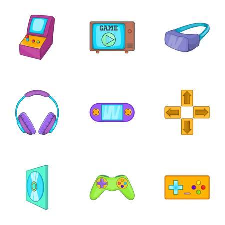 psp: Computer games icons set. Cartoon illustration of 9 computer games vector icons for web Illustration