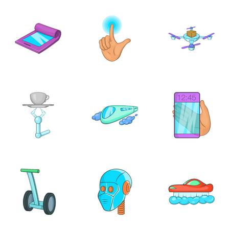 feature: New feature icons set. Cartoon illustration of 9 new feature vector icons for web Illustration