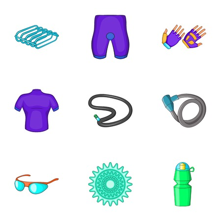 Cycling icons set. Cartoon illustration of 9 cycling vector icons for web Illustration