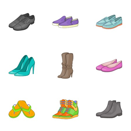 shoe store: Kind of shoes icons set. Cartoon illustration of 9 kind of shoes vector icons for web