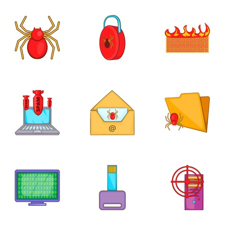 Hacking icons set. Cartoon illustration of 9 hacking vector icons for web
