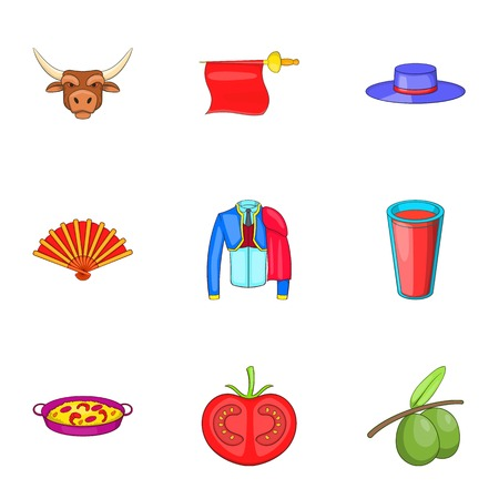 Spain icons set. Cartoon illustration of 9 Spain vector icons for web Illustration