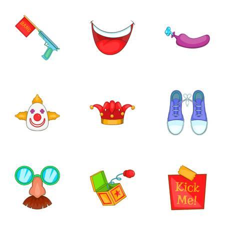 Funny jokes icons set. Cartoon illustration of 9 funny jokes vector icons for web