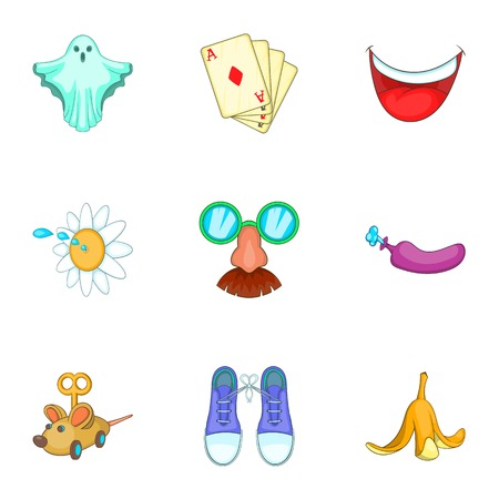 Trick icons set. Cartoon illustration of 9 trick vector icons for web