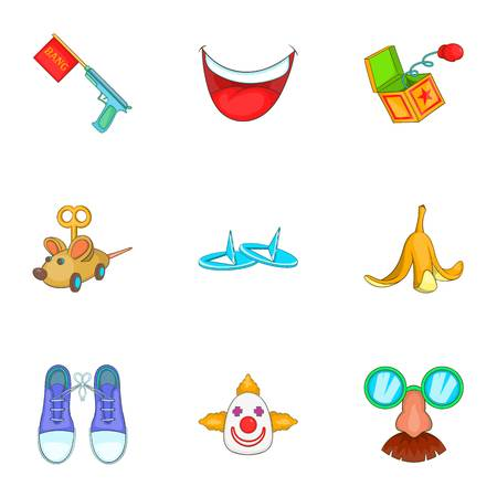 First of april icons set. Cartoon illustration of 9 first of april vector icons for web Illustration