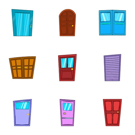 double entry: Opening icons set. Cartoon illustration of 9 opening vector icons for web Illustration