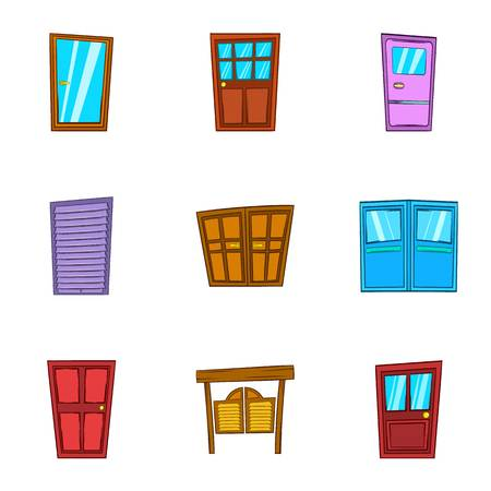 double entry: Front door icons set. Cartoon illustration of 9 front door vector icons for web