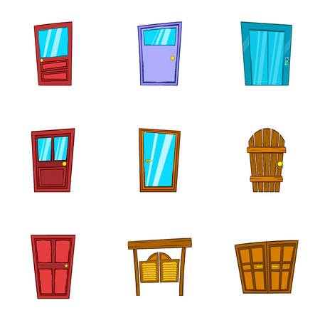 double entry: Security door icons set. Cartoon illustration of 9 security door vector icons for web