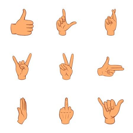 Gebaar iconen ingesteld. Cartoon illustratie van 9 gebaar vector iconen voor web
