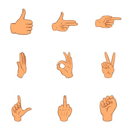extremity: Gestural icons set. Cartoon illustration of 9 gestural vector icons for web Illustration
