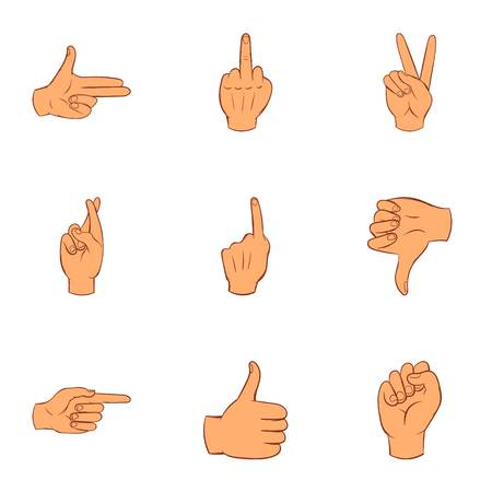 Fingers icons set. Cartoon illustration of 9 fingers vector icons for web