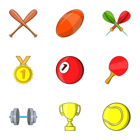 game of pool: Sports accessories icons set. Cartoon illustration of 9 sports accessories vector icons for web