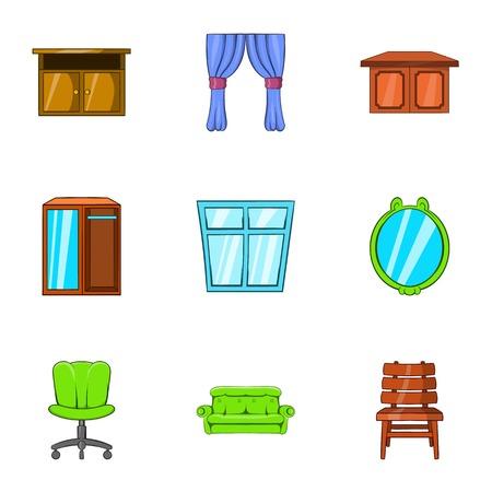 arredamento classico: Complementi arredo icone set. Illustrazione del fumetto di 9 di arredamento vettoriale icone per il web