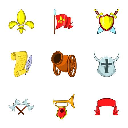 militant: Medieval armor icons set. Cartoon illustration of 9 medieval armor vector icons for web