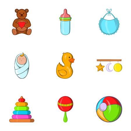 Les choses pour les icônes de bébé définies. Cartoon illustration de 9 choses pour les icônes vectorielles bébé pour le web