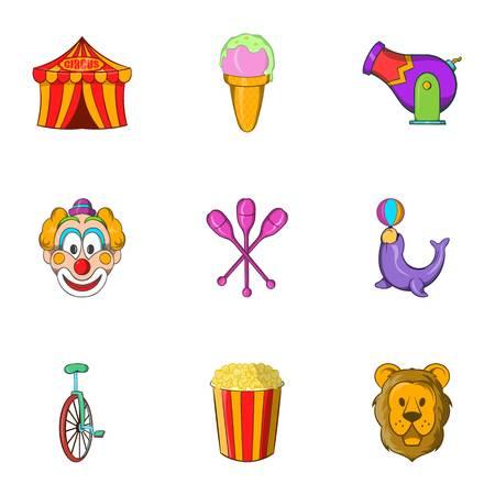 Chapiteau icons set. Cartoon illustration of 9 chapiteau vector icons for web