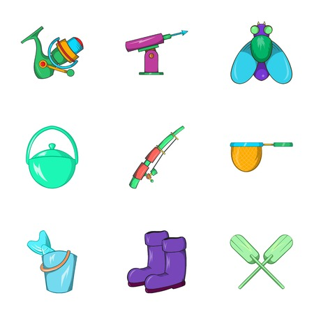 Angling icons set. Cartoon illustration of 9 angling vector icons for web