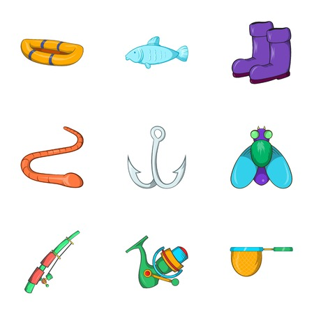 worm gear: Hunting for fish icons set. Cartoon illustration of 9 hunting for fish vector icons for web