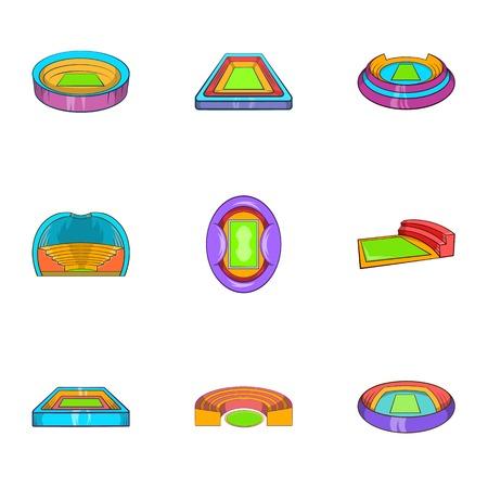 semicircle: Stadium icons set. Cartoon illustration of 9 stadium vector icons for web