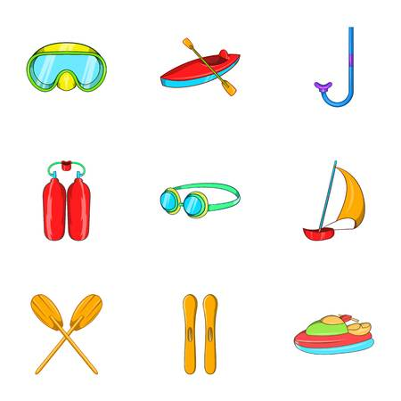 Water stay icons set. Cartoon illustration of 9 water stay vector icons for web Illustration