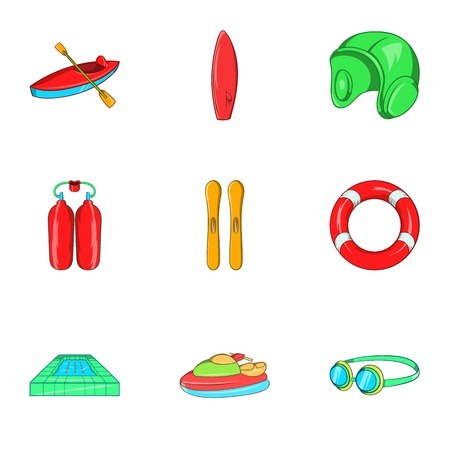 Water exercise icons set. Cartoon illustration of 9 water exercise vector icons for web